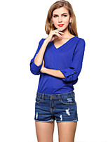 Women's Casual V-neck Chiffon Blouse Tops T-shirt Tee Bottoming Shirt