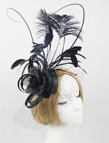 Women Fabric Hair Clip , Western Style Party Flower Veil Headpiece