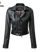 LIVAGIRL®Women's Jacket Fashion Long Sleeve Sexy Short Style PU Leather Jacket Europe Style Locomotive Girl Top Coat