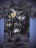 3D Printing Round Neck Short-sleeve Bandhnu Wolf T-Shirt (Cotton)