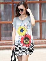 Women's Casual/Print Stretchy Short Sleeve Regular T-shirt (Spandex/Acrylic)