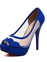 Women's Shoes Tulle Stiletto Heel Heels/Peep Toe Sandals Casual Black/Blue/White