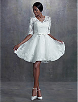 A-line/Princess Wedding Dress - Ivory Knee-length V-neck Lace