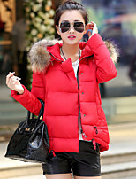 Women's Solid Blue/Red/White/Black/Green Down Coat , Casual Hooded Long Sleeve