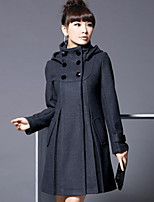 Women's Solid Blue/Pink/Black/Gray Coat , Casual Long Sleeve Cotton/Wool Blends