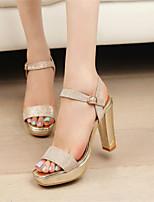 Women's Shoes Chunky Heel Open Toe Sandals Dress Gold