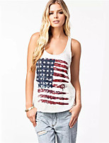 Women's Sexy/Print Inelastic Sleeveless Regular Vest (Cotton Blends)