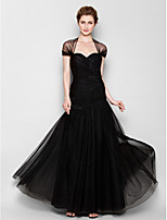 Fit & Flare Mother of the Bride Dress - Black Floor-length Short Sleeve Tulle
