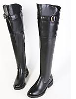 Zapatos de mujer Cuero Sintético Tacón Robusto Botas Anfibias/Punta Redonda Botas Casual Negro