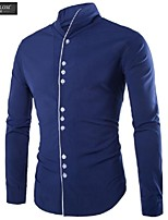 JESUNLOM®Man's Shirt Fashion Long Sleeve Chinese Style Casual Stand Collar Shirt Young Man All-Match Under Shirt