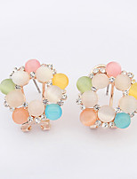 Women's European Style Fashion Opal Rhinestone Flower Alloy Stud Earrings