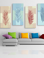 E-HOME® Stretched Canvas Art A Leaf Decoration Painting  Set of 4