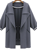 Women's Casual Thin ¾ Sleeve Long Trench Coat (Polyester/Cotton Blends)