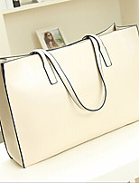 Women 's PU Shopper Shoulder Bag - White/Brown/Red/Black
