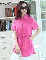 YIMITAO Women's Casual/Work Micro-elastic Short Sleeve Long Shirt (Lyocell)