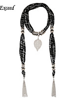 D Exceed Women's Elegant Silver Alloy Chiffon Scarves Abstract Long Leaf Pendant Tassel Scarfs