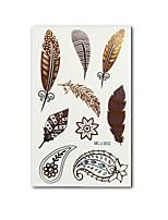 Women's Feather Design Gold Tattoo Temporary Tattoos Sticker Flash Tatoo Golden Tatto Body Art