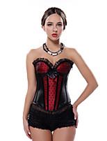 Black Red Burlesque Moulin Rouge Boned Lace Up Corset S-2XL