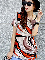 Women's Casual Work Micro Elastic Short Sleeve Long T-shirt (Others)