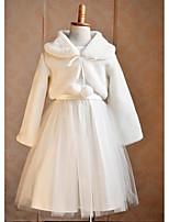 Kids Wraps Boleros/Capelets Long Sleeve Faux Fur/Tulle White