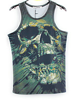 European Style TEE Digital Printing 3D Sleeveless Weathered Skeleton Harajuku Vest