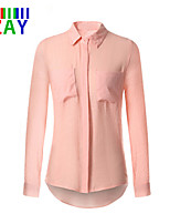 ZAY Women's Autumn New OL Shirt Collar Shirt , Linen Long Sleeve