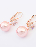 Women's European Style Fashion Square Zircon Imitation Pearl Drop Earrings