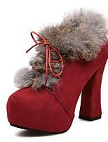 Chaussures Femme - Décontracté - Noir / Rouge - Gros Talon - Bottine - Bottes - Faux Daim