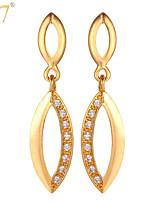 U7® Women's Zircons Dangle Earrings 18K Real Gold/Platinum Plated Cubic Zirconia Vintage Women Jewelry Drop Earrings