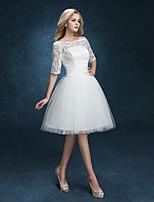 Ball Gown Wedding Dress - White Short/Mini Bateau Lace