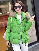Women's Fur Collar Loose Thin Long Sleeve Short Hooded Down Coat , Casual/Cute/Work/Plus Sizes Cotton