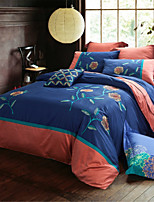 H&C 100% Cotton 800TC Duvet Cover Set 4-Piece Orange Flowers Pattern Orange And Blue Background  HZ1-004