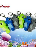 LED Hippocampus Keychain Animal Flashlight Sound Key Ring (Random Color)
