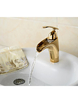Contemporary Style Ti-PVD Finish Waterfall Brass  Bathroom Sink Faucet