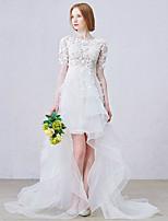 웨딩 드레스 - 화이트 A 라인 비대칭 보석 레이스