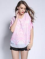 Damen Bluse Polyester Kurzarm Rundhalsausschnitt