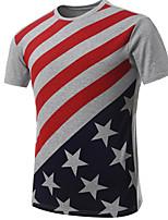 Men's Summer Style Round Collar Flag Print Short Sleeve T-shirts