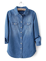Women's Solid Blue Denim/Cotton Blends Top , Casual Long Sleeve