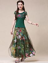 Women's Casual/Print Inelastic Medium Maxi Skirts (Mesh/Linen)