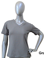 Cotton/Lycra Short Sleeve V Front Top Dance More Colors for Girls and Ladies