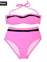 I-Glam Women's Pink Bikini Swimwear with Bandeau Top and High-waist Bottom