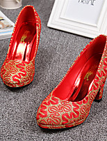 Women's Shoes Tulle Chunky Heel Heels/Round Toe Pumps/Heels Wedding Red/Gold