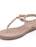 Women's Shoes Leather Flat Heel T-Strap Sandals Casual More Colors Available