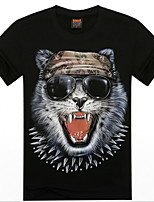Men's 3D O-Neck Short-sleeve Glasses Cat Printing T-Shirt (Cotton)