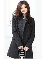 Women's Vintage/Casual Thick Long Sleeve Long Coat (Cotton/Wool Blends)