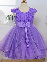 A-line Tea-length Flower Girl Dress - Satin/Tulle Short Sleeve