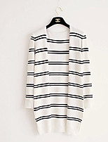 Women's Striped White Cardigan , Vintage/Casual/Cute/Party/Work Long Sleeve