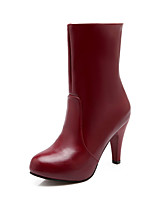 Women's Shoes Stiletto Heel Fashion Boots/Round Toe Boots Office & Career/Dress/Casual Black/Red