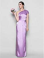 Платье для подружек невесты - Сиреневый Платье-чехол На одно плечо Длина до пола Шармез