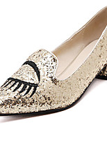 Women's Shoes Synthetic Chunky Heel Pointed Toe/Closed Toe Pumps/Heels Casual Gold